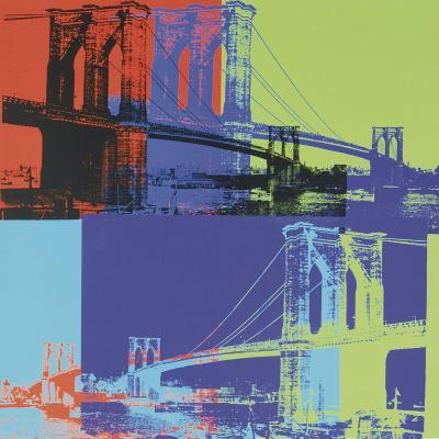 Brooklyn Bridge, c.1983 (orange, blue, lime)-Andy Warhol-Art Print