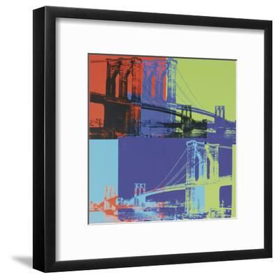 Brooklyn Bridge, c.1983 (orange, blue, lime)-Andy Warhol-Framed Art Print