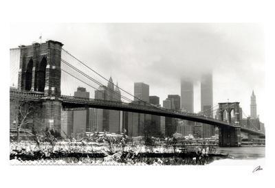 Brooklyn Bridge in Snow-Igor Maloratsky-Art Print