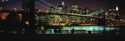Brooklyn Bridge Lit Up at Dusk, East River, Manhattan, New York City, New York, USA--Photographic Print