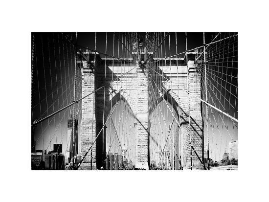 Brooklyn Bridge, Manhattan, New York, White Frame, Full Size Photography-Philippe Hugonnard-Photographic Print