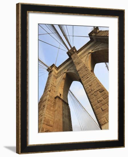 Brooklyn Bridge, New York City, New York, United States of America, North America-Amanda Hall-Framed Photographic Print