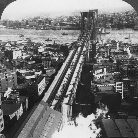 Brooklyn Bridge, New York City, New York, USA, Late 19th or Early 20th Century-Underwood & Underwood-Photographic Print