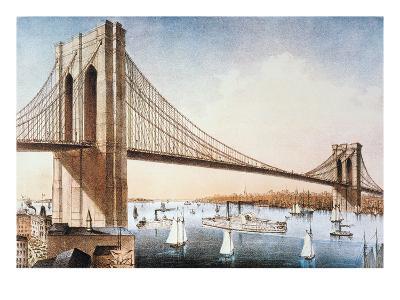 Brooklyn Bridge, NYC, 1881-Currier & Ives-Giclee Print