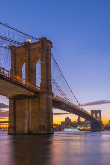 Brooklyn Bridge over East River, New York, United States of America, North America-Alan Copson-Photographic Print