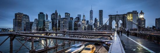 Brooklyn Bridge, rainy evening, skyscrapers and skyline of Manhattan, New York, USA-Andrea Lang-Photographic Print