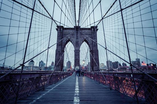 Brooklyn Bridge, rainy evening, skyscrapers and skyline of Manhattan, New York, USA-Andrea Lang-Photographic Print