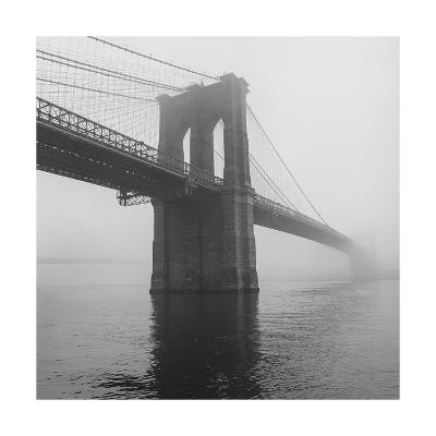 Brooklyn Bridge Tower in Fog-Henri Silberman-Photographic Print