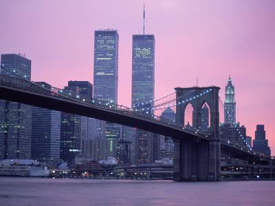Brooklyn Bridge, Twin Towers, NYC, NY-Barry Winiker-Photographic Print