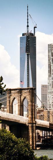 Brooklyn Bridge View and One World Trade Center, Modern Sepia, Manhattan, NYC-Philippe Hugonnard-Photographic Print