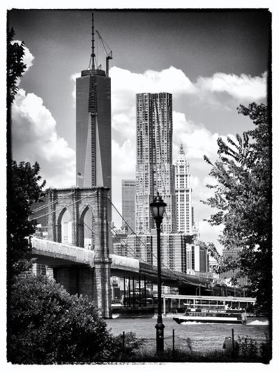 Brooklyn Bridge View with One World Trade Center, Black and White Photography, Manhattan, NYC, US-Philippe Hugonnard-Photographic Print