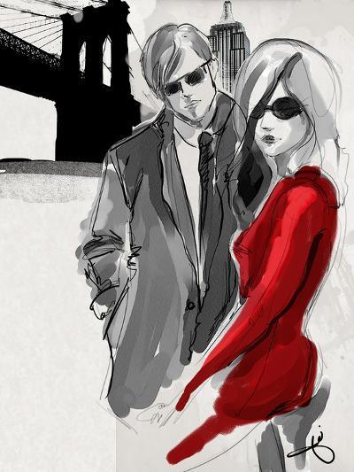 Brooklyn Couple Red Dress-Jodi Pedri-Art Print