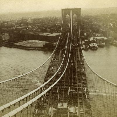 Brooklyn from One of the Towers of the Suspension Bridge, New York, USA--Photographic Print