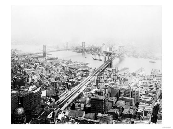 Brooklyn & Manhattan Bridges NYC Photo - New York, NY-Lantern Press-Art Print