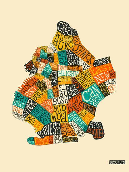 Brooklyn Neighbourhoods-Jazzberry Blue-Premium Giclee Print
