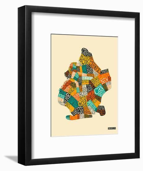 Brooklyn Neighbourhoods-Jazzberry Blue-Framed Art Print