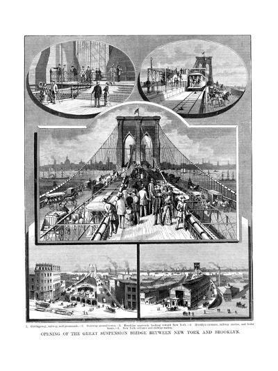Brooklyn Suspension Bridge, New York, 1883--Giclee Print
