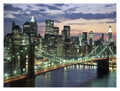 Brookyn bridge and Downtown skyline, NYC-Michel Setboun-Art Print