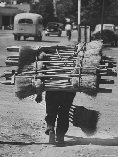 Broom Peddler Going Door to Door-Cornell Capa-Photographic Print