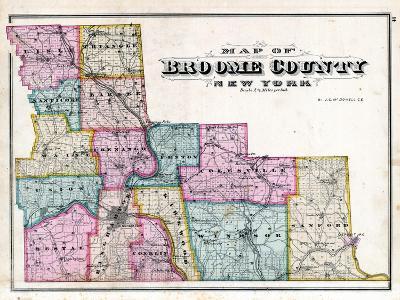 Broome County Map--Giclee Print