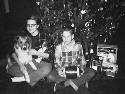 Brother and Sister Pose by the Christmas Tree, Ca. 1960--Photographic Print