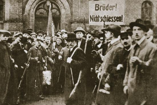 'Brothers, Don't Shoot!', placard during the German Revolution, Berlin, c1918-c1919-Unknown-Photographic Print