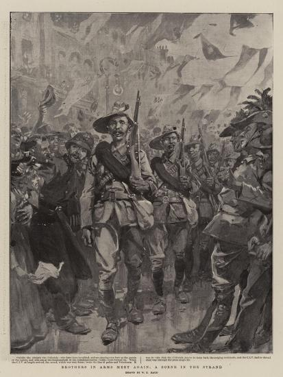 Brothers in Arms Meet Again, a Scene in the Strand-William T^ Maud-Giclee Print