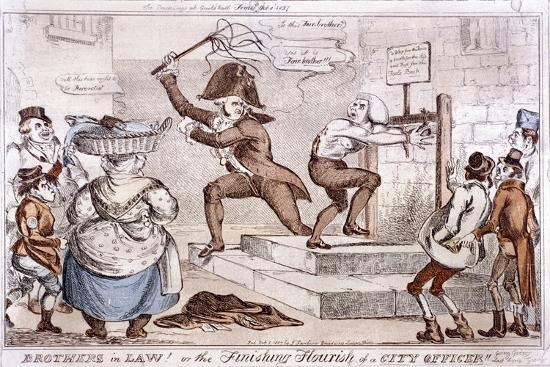 Brothers in Law! or the Finishing Flourish of a City Officer!!, 1827--Giclee Print