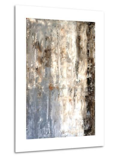 Brown And Grey Abstract Art Painting-T30Gallery-Metal Print