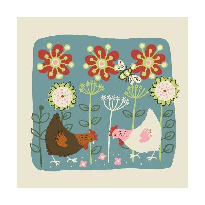 Brown and White Hens--Art Print