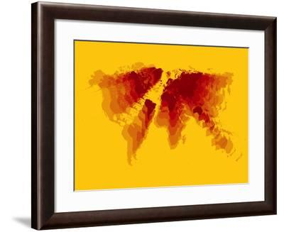Brown and Yellow Radiant World Map-NaxArt-Framed Art Print