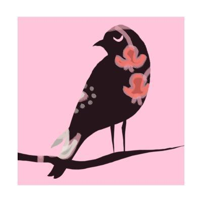 Brown Bird on Pink--Art Print