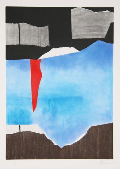 Brown, Blue, Black Abstract-Giuseppi Santomaso-Limited Edition