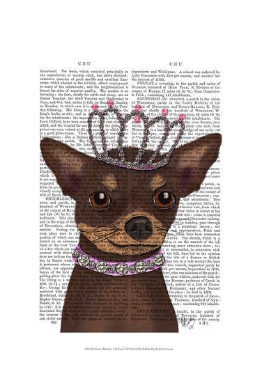 Brown Chihuahua And Tiara-Fab Funky-Art Print