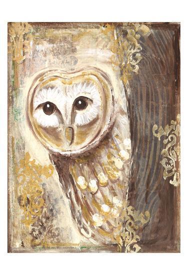 Brown, cream, and gold owls-Erin Butson-Art Print