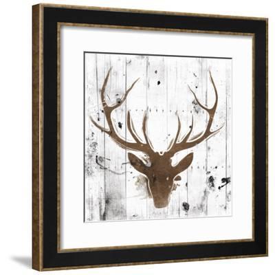 Brown Deer Head-OnRei-Framed Art Print
