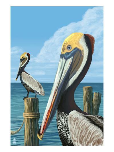 Brown Pelican-Lantern Press-Art Print