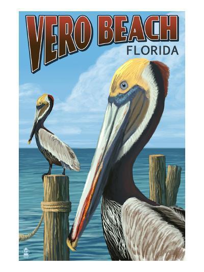 Brown Pelicans - Vero Beach, Florida-Lantern Press-Art Print