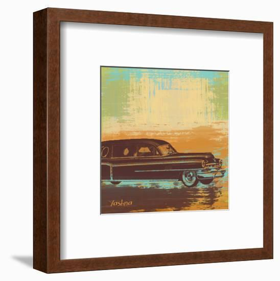 Brown Retro Car I-Yashna-Framed Art Print