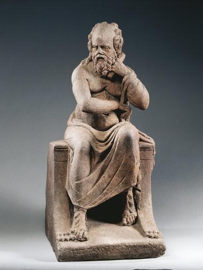Brown Terracotta Statuette of Philosopher Pittacus of Mytilene, from House of Julia Felix, Pompei--Giclee Print