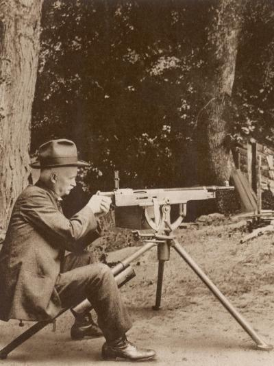 Browning American Inventor John Moses Browning with One of His Machine Guns--Photographic Print