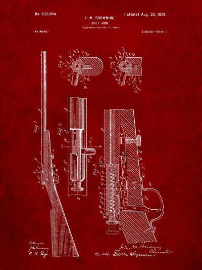 Browning Bolt Gun Patent-Cole Borders-Art Print