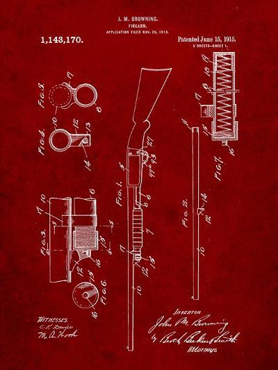 Browning Shotgun Patent-Cole Borders-Art Print