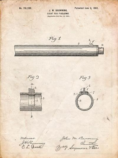 Browning Sight for Firearms Patent-Cole Borders-Art Print