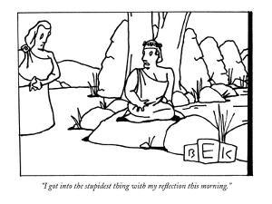 """I got into the stupidest thing with my reflection this morning."" - New Yorker Cartoon by Bruce Eric Kaplan"