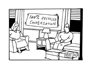 In the living room of a bored-looking married couple, a hanging sign reads... - New Yorker Cartoon by Bruce Eric Kaplan