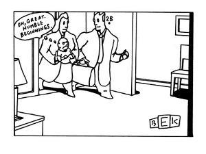 New parents entering sparse apartment holding baby, whose thought balloon ? - New Yorker Cartoon by Bruce Eric Kaplan