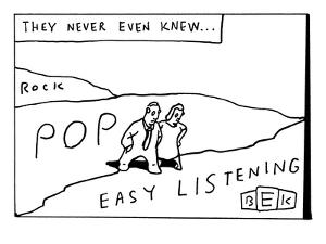 """The title reads, """"They never even knew?""""  A man and woman walk over terr? - New Yorker Cartoon by Bruce Eric Kaplan"""