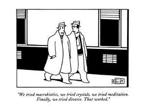 """We tried macrobiotics, we tried crystals, we tried meditation.  Finally, ?"" - New Yorker Cartoon by Bruce Eric Kaplan"