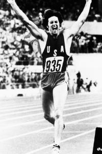 Bruce Jenner Just after Crossing the Finish Line to Win the Decathlon